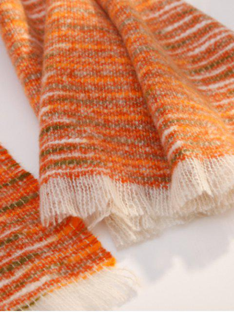 affordable Winter Faux Woolen Thick Tassel Scarf - TANGERINE  Mobile