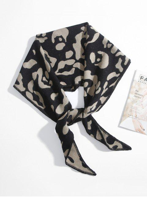 latest Leopard Print Rhombus Knitted Scarf - BLACK  Mobile