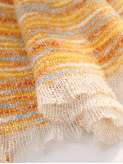 buy Winter Faux Woolen Thick Tassel Scarf - YELLOW  Mobile