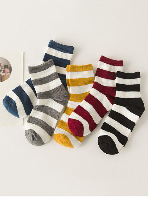 online 5 Pairs Striped Two Tones Socks Set - MULTI-A  Mobile