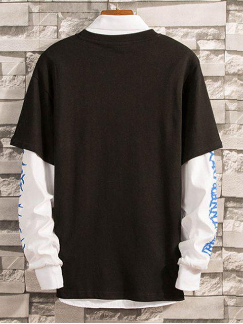 2 en 1 Impreso de manga larga camiseta - Negro S Mobile