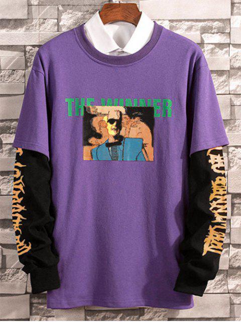 2 en 1 Impreso de manga larga camiseta - Púrpura S Mobile
