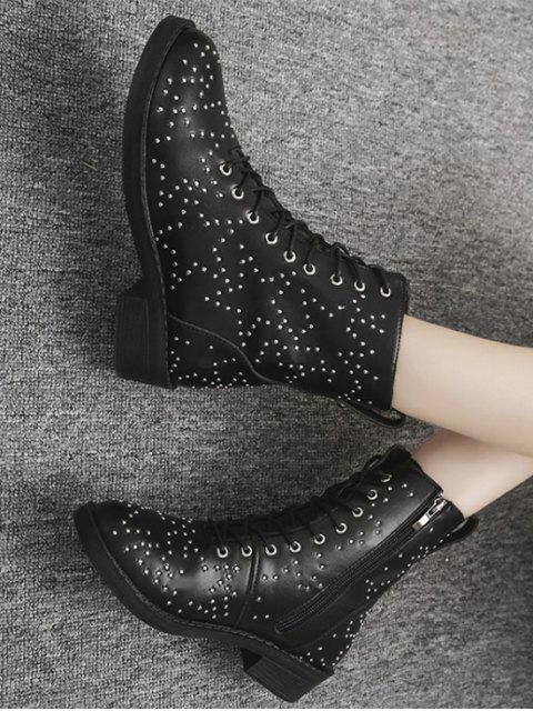 trendy Star Studded Lace Up Ankle Boots - BLACK EU 41 Mobile
