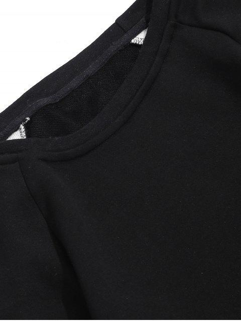 Faux dos piezas de impresión de letras manga larga - Negro M Mobile