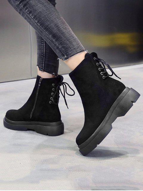best Plain Lace Up Back Suede Platform Boots - BLACK EU 39 Mobile