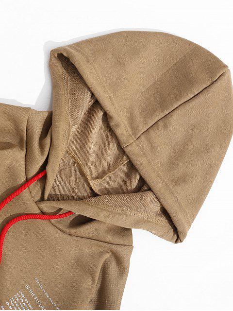 fashion Letter Texting Graphic Kangaroo Pocket Drawstring Hoodie - WOOD 2XL Mobile