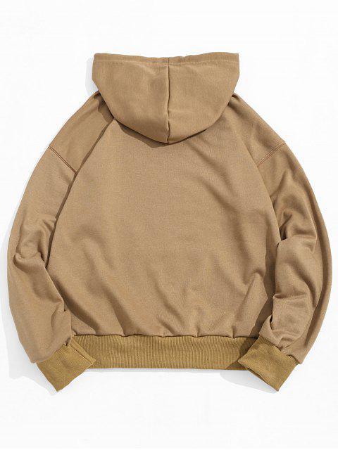 unique Letter Texting Graphic Kangaroo Pocket Drawstring Hoodie - WOOD S Mobile