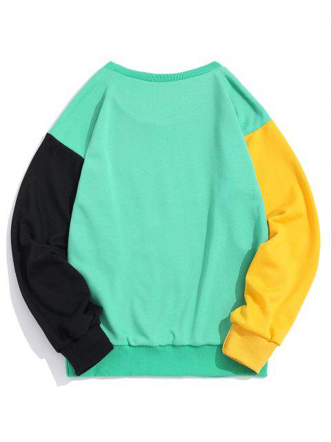 Bloquear ZAFUL Sun de la historieta Montaña del gráfico de color que empalma la camiseta - Manzana Verde 2XL Mobile