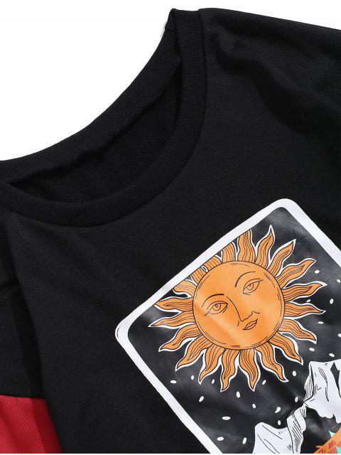 Bloquear ZAFUL Sun de la historieta Montaña del gráfico de color que empalma la camiseta - Negro M Mobile
