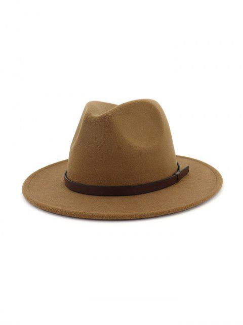affordable Solid Woolen Belt Jazz Hat - KHAKI  Mobile