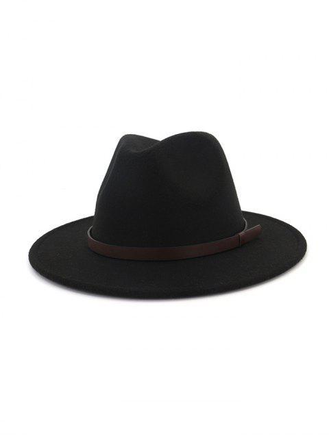 outfits Solid Woolen Belt Jazz Hat - BLACK  Mobile