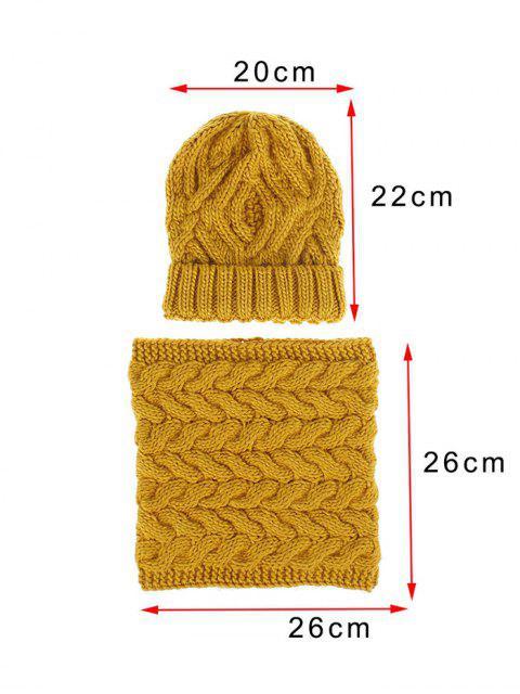 shops Woolen Yarn Winter Knitted Scarf Hat Set - BLACK  Mobile