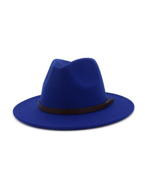 Одноцветная Шерстяная Шляпа Джаз С поясом - Синий  Mobile