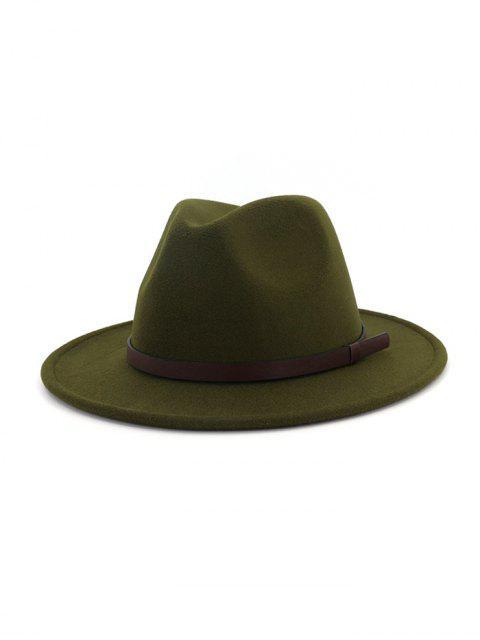 Chapeau de Jazz Ceinture en Couleur Unie en Laine - Vert Armée   Mobile