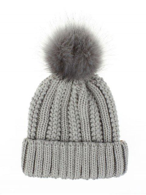 latest Fuzzy Ball Classic Winter Knitted Hat - LIGHT GRAY  Mobile
