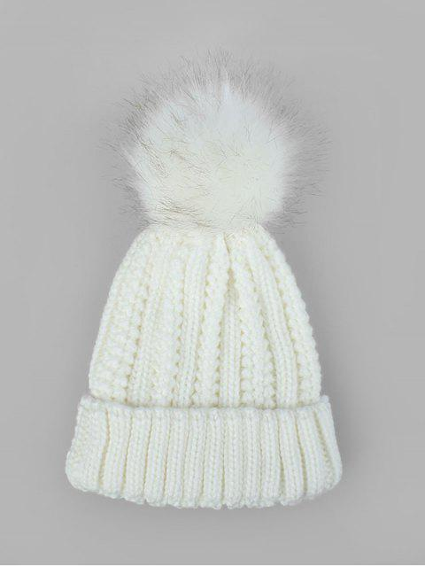 fashion Fuzzy Ball Classic Winter Knitted Hat - WHITE  Mobile