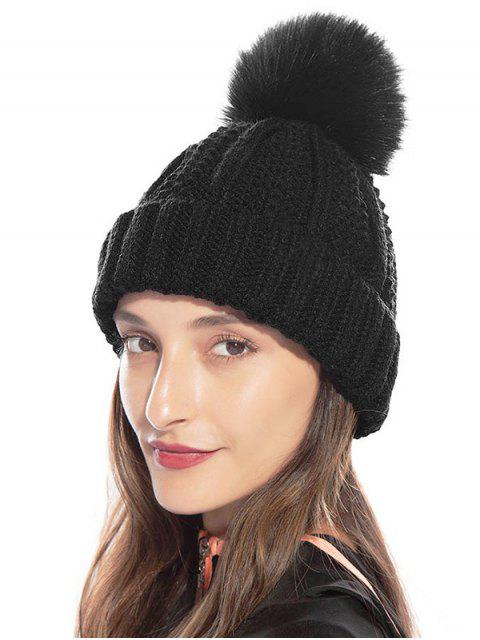 women Fuzzy Ball Classic Winter Knitted Hat - BLACK  Mobile