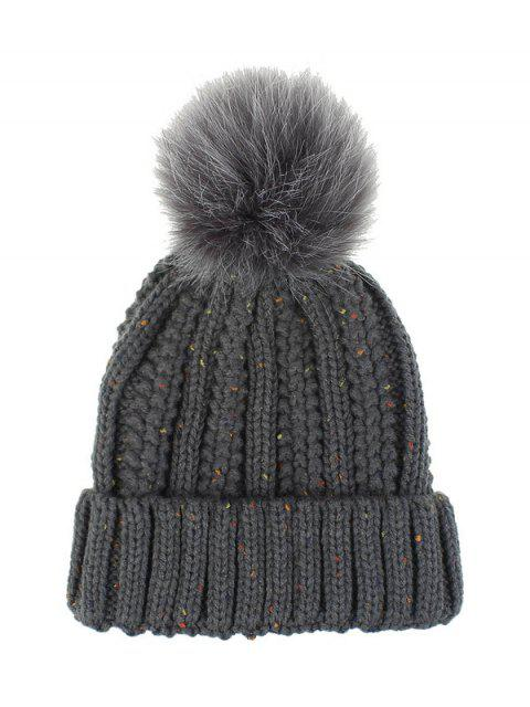 غامض الكرة كلاسيكي الشتاء محبوك قبعة - الرمادي الداكن  Mobile