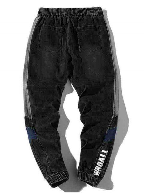 women Letter Print Contrast Trim Spliced Drawstring Jogger Jeans - BLACK XL Mobile