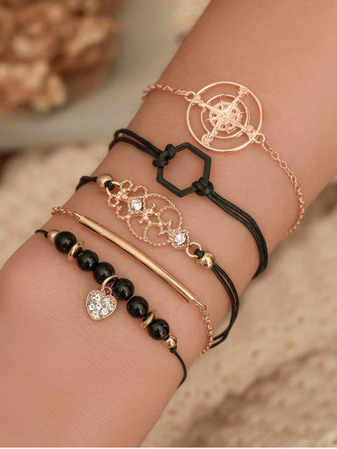 buy 5Pcs Hollow Geometric Bracelet Set - GOLD  Mobile