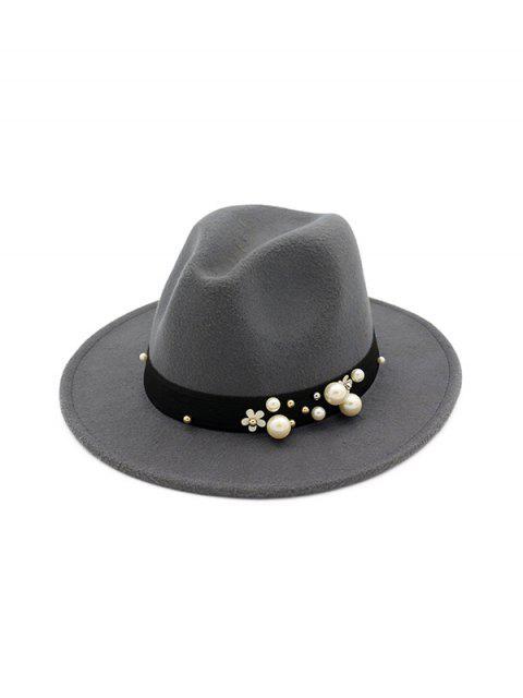 trendy Pearl Flower Fedoras Woolen Jazz Hat - GRAY  Mobile