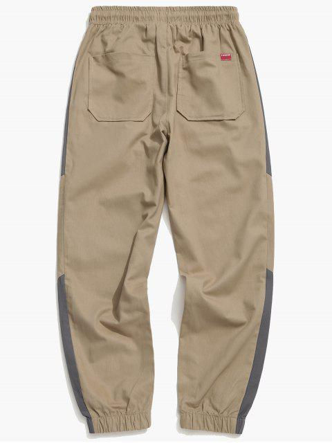 buy Contrast Trim Spliced Drawstring Casual Jogger Pants - TAN XS Mobile