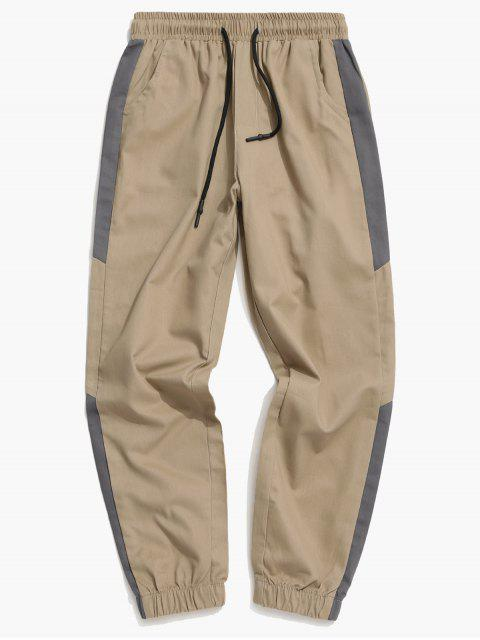 chic Contrast Trim Spliced Drawstring Casual Jogger Pants - TAN L Mobile