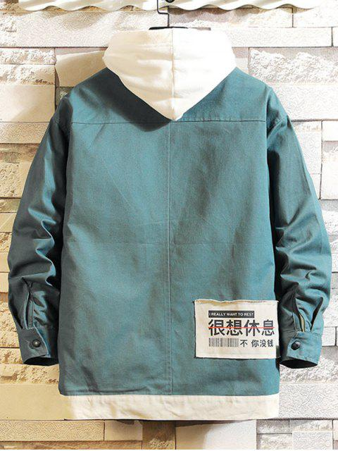 womens Pocket Design Zip Up Casual Jacket - SILK BLUE M Mobile