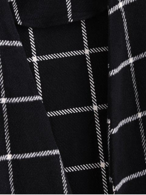 ZAFUL Manteau Long Ouvert en Avant à Carreaux avec Poche - Noir S Mobile
