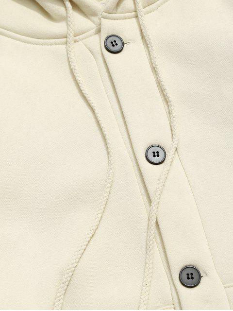 women Applique Solid Drop Shoulder Button Hooded Jacket - BEIGE L Mobile