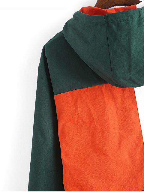 best Letter Embroidery Color-blocking Hooded Jacket - DEEP GREEN 3XL Mobile