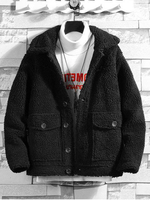 outfit Solid Color Button Design Fluffy Jacket - BLACK L Mobile