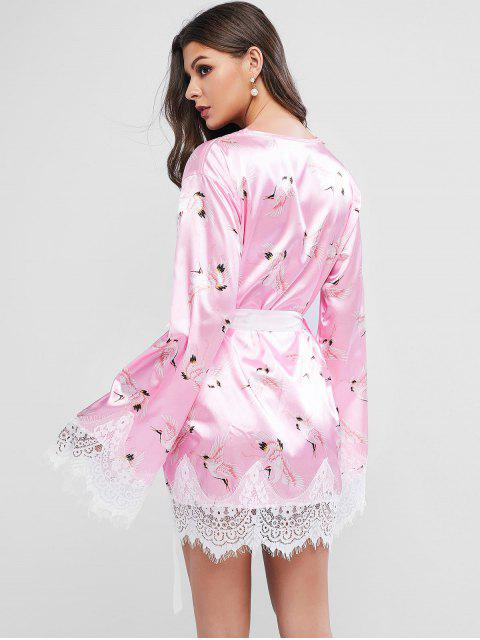 hot Lace Panel Crane Print Belted Satin Nightdress - PINK S Mobile