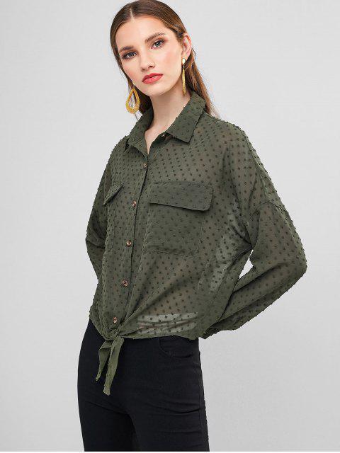 fashion ZAFUL Swiss Dots Tie Front Flap Pockets Shirt - HAZEL GREEN M Mobile