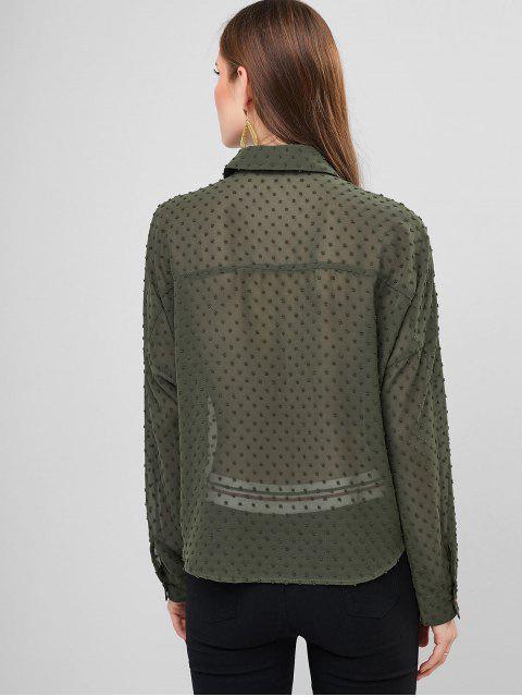 outfits ZAFUL Swiss Dots Tie Front Flap Pockets Shirt - HAZEL GREEN S Mobile