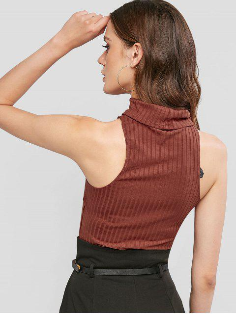 sale ZAFUL Turtleneck Crop Slim Tank Top - RED WINE S Mobile