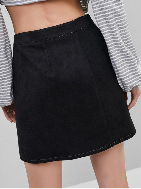 hot ZAFUL Faux Suede Button Fly Slit Skirt - BLACK S Mobile