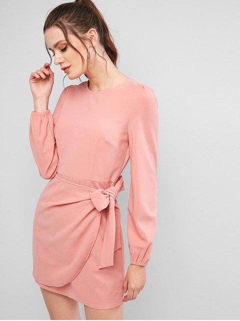 ZAFUL Mini Robe Nouée en Couleur Unie à Manches Longues - Rose  L Mobile