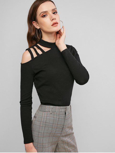 sale ZAFUL Ribbed Mock Neck Caged Shoulder T-shirt - BLACK M Mobile