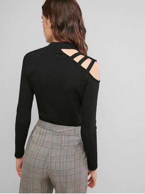 unique ZAFUL Ribbed Mock Neck Caged Shoulder T-shirt - BLACK XL Mobile