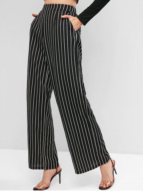 ZAFUL rayadas pantalones de pierna ancha con bolsillos - Negro L Mobile