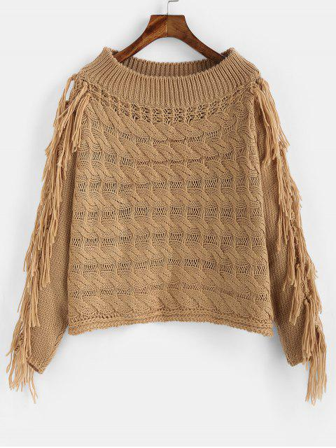 sale ZAFUL Tassel Cable Knit Openwork Sweater - CAMEL BROWN S Mobile