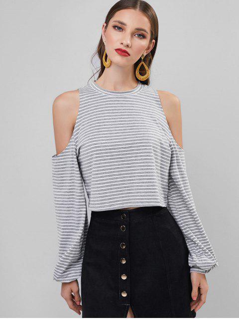 shop ZAFUL Cold Shoulder Striped Lantern Sleeve T Shirt - MULTI L Mobile