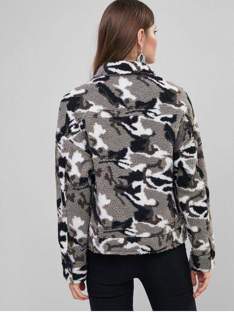ZAFUL la impresión de Camo Escudo mullido de piel falsa - Camuflaje de Nieve XL Mobile