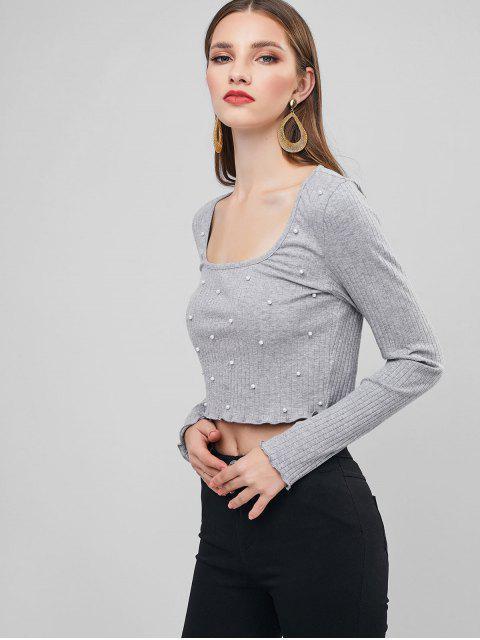 ZAFULビーズ装飾レタストリムクロップTシャツ - グレイクラウド L Mobile