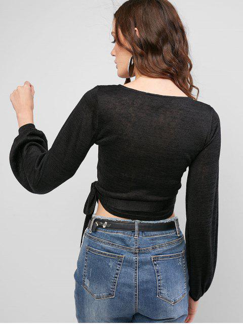 hot ZAFUL Long Sleeve Cross Front Wrap Top - BLACK XL Mobile