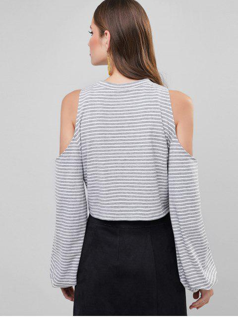 womens ZAFUL Cold Shoulder Striped Lantern Sleeve T Shirt - MULTI M Mobile