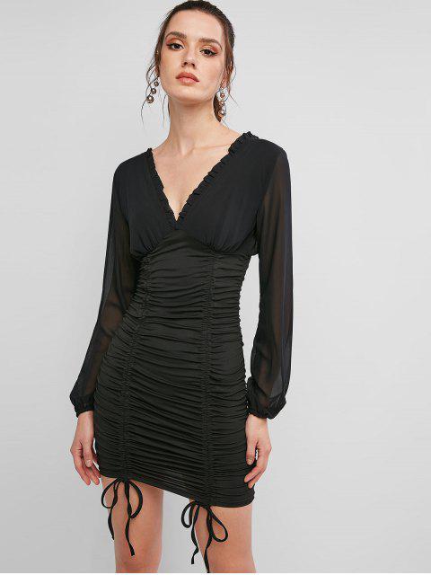 Robe Moulante Manches Longues à Double V à Lacets - Noir S Mobile