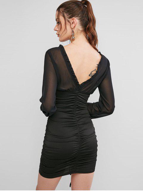 Vestido Manga Larga Estampado Cordones Ajustado - Negro L Mobile