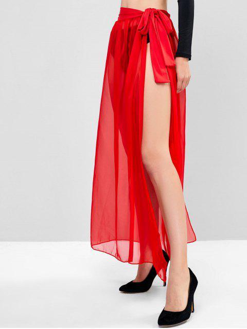 Maxi Falda Transparente Cintura Alta - Rojo Lava Talla única Mobile